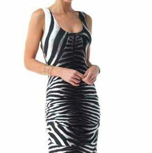 SKY zebra print floor length dress with cage back